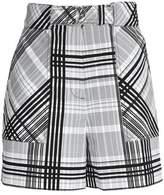 Diane von Furstenberg Belted Checked Cotton-Blend Shorts