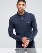 Jack Wills Staplecross Long Sleeve Polo in Navy