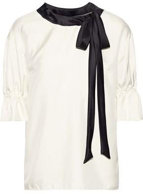Dolce & Gabbana Pussy-bow Satin-trimmed Silk-twill Top