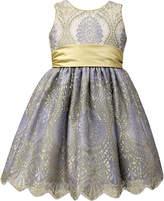 Jayne Copeland Blue & Gold Floral A-Line Dress - Girls