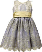 Jayne Copeland Blue & Gold Floral A-Line Dress - Toddler & Girls