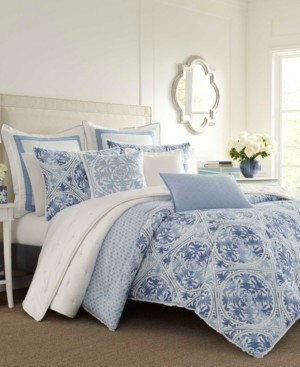 Laura Ashley Mila Blue Comforter Set, King Bedding