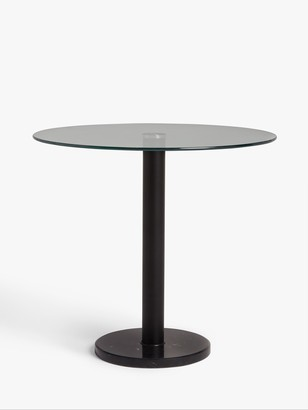 House by John Lewis Enzo 2 Seater Glass Round Dining Table, Black Marble