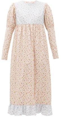 Batsheva Holly Floral-print Cotton Midi Dress - Womens - Pink Multi