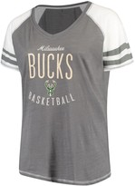 Unbranded Women's Soft as a Grape Charcoal Milwaukee Bucks Plus Size Color Blocked Raglan Tri-Blend V-Neck T-Shirt