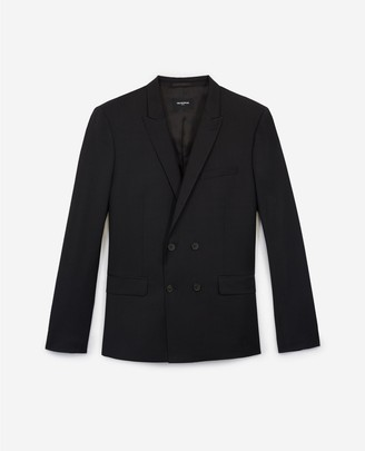 The Kooples Patterned double-breasted black wool jacket