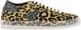 Patrizia Pepe Sneakers In Animalier Calfhair With Rhinestone Logo