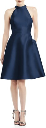 Alfred Sung Halter Style Satin Twill Cocktail Dress