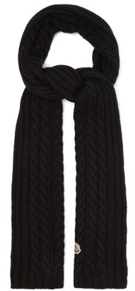 Moncler Cable-knitted Wool Scarf - Black