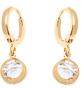 Sweet & Soft White & Gold Crystal Round Drop Earrings