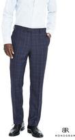 Banana Republic Standard Monogram Navy Plaid Wool Tuxedo Trouser