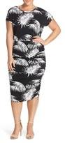 Vince Camuto Plus Size Women's Palm Print Ruched Sheath Dress