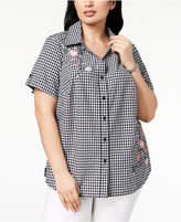 Karen Scott Plus Size Cotton Embroidered Gingham Shirt, Created for Macy's