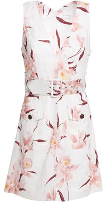 Zimmermann Corsage Safari Belted Printed Linen Mini Dress