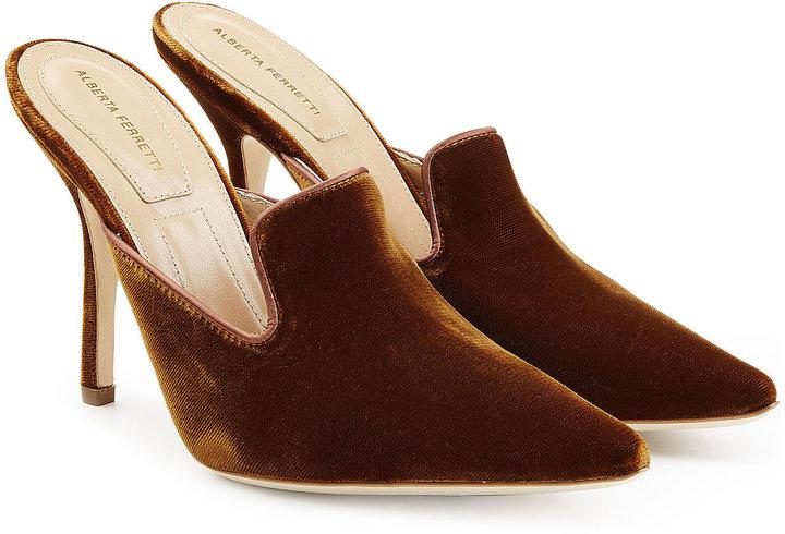 Alberta Ferretti Velvet Mules with Stiletto Heel