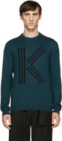 Kenzo Green Logo Wool Knit Sweater