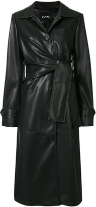 GOEN.J Knotted Faux-Leather Coat
