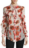 Nicholas Floral Georgette Ruffle Shirt, Red/Off White