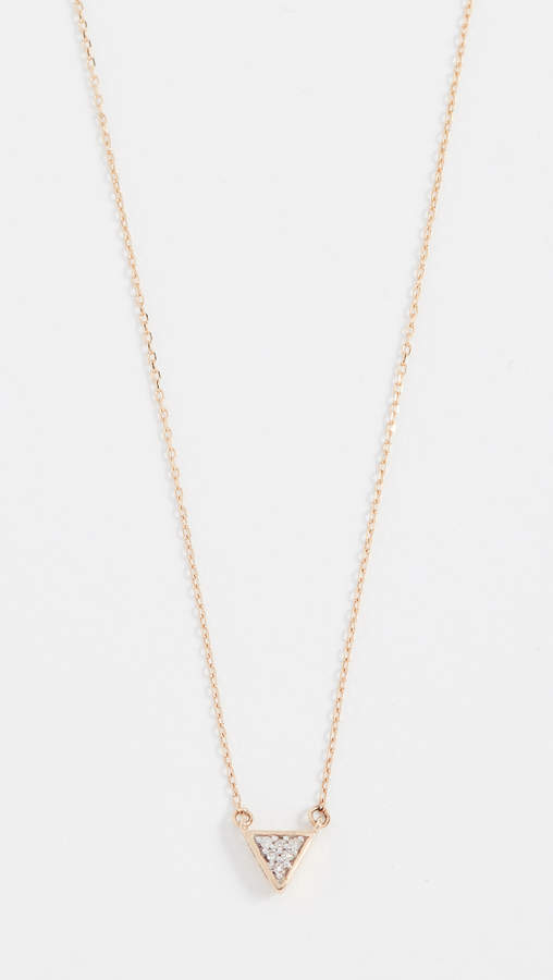 Adina Super Tiny Solid Pave Triangle Necklace