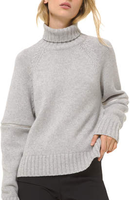 Michael Kors Cashmere Raglan Zip-Sleeve Turtleneck