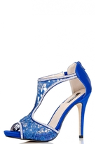 Quiz Blue Lace Diamante T-Bar Sandals