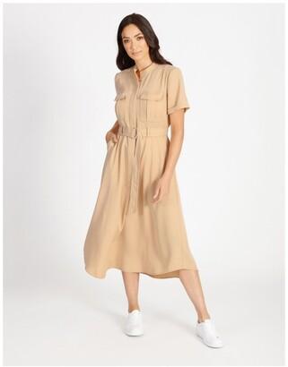 Basque Utility Shirt Dress