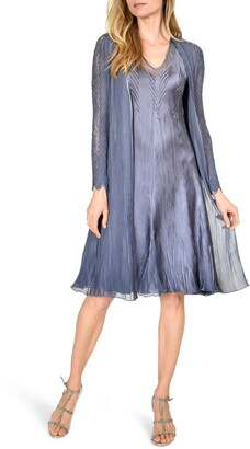 Komarov Lace Charmeuse & Chiffon A-Line Dress with Duster Jacket