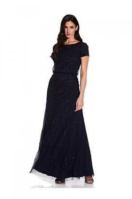 Adrianna Papell Long Beaded Dress In Midnight/Black