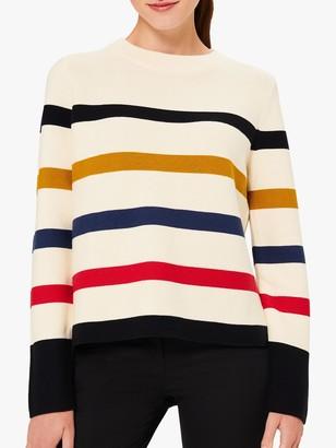 Hobbs Fisola Stripe Cotton Jumper, Multi
