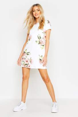 boohoo Floral Cap Sleeve Shift Dress
