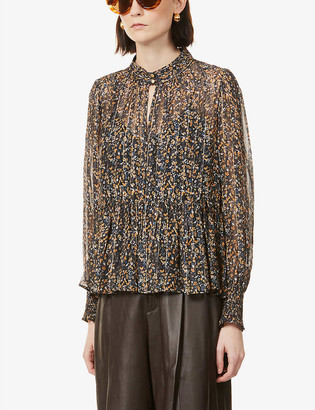 Me And Em Flared-hem floral woven blouse