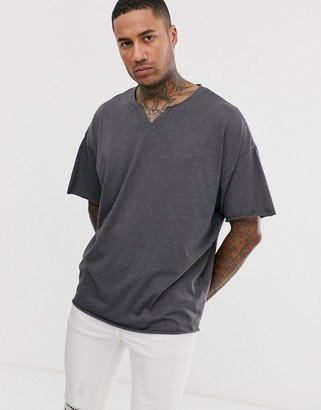 Asos Design DESIGN oversized t-shirt with raw notch neck in charcoal marl-Grey