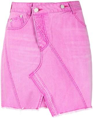 Sjyp Asymmetric Denim Mini Skirt