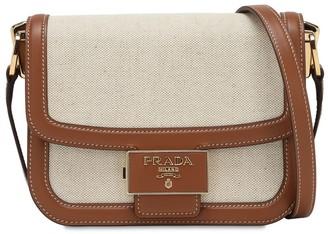 Prada Canvas & Leather Shoulder Bag