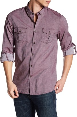 Indigo Star Collared Long Sleeve Woven Tailored Fit Shirt