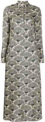 813 Foliage-Print Silk Dress