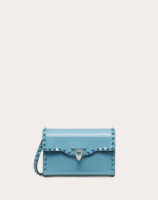 Valentino Small Rockstud Patent Leather Crossbody Bag Women Light Blue 100% Pelle Di Vitello - Bos Taurus OneSize