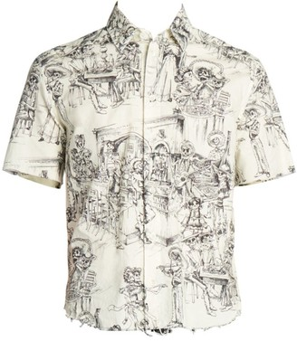 Saint Laurent Mexican Festival Print Short-Sleeve Button-Down Shirt