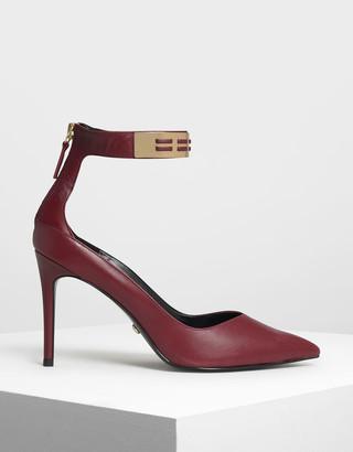 Charles & Keith Metallic Cuff Leather Heels