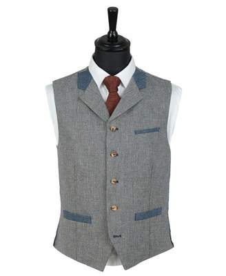 Gibson London Contrast Trim Checked Waistcoat Colour: BLUE, Size: 46R