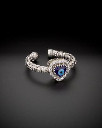 Meshmerise 14K Italian Gold 0.15 Ct. Tw. Diamond Evil Eye Adjustable Heart Ring