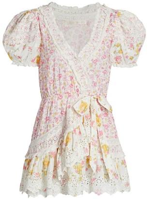 LoveShackFancy Belen Puff-Sleeve Mini Dress