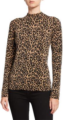 Neiman Marcus Leopard-Print Cashmere Long-Sleeve Mock-Neck Sweater