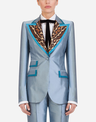 Dolce & Gabbana Single-Breasted Block Color Jacket In Shantung