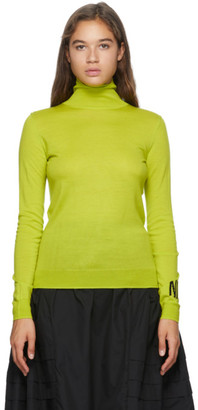 Nina Ricci Green Wool Logo Turtleneck
