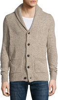 Original Penguin Shawl-Collar Elbow-Patch Cardigan Sweater, Silver