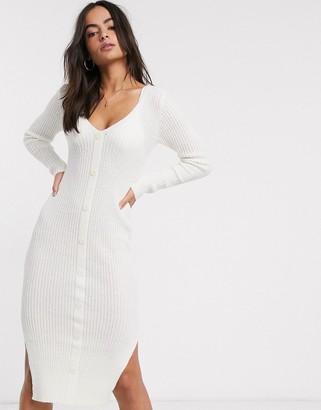 ASOS DESIGN v neck button through knit maxi dress in natural look yarn