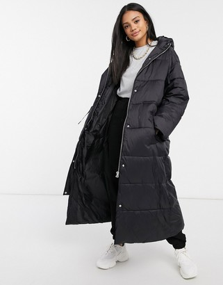 ASOS DESIGN tie waist longline puffer coat in black