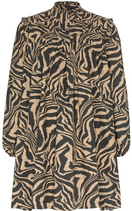 Ganni Flared Zebra-Print Dress