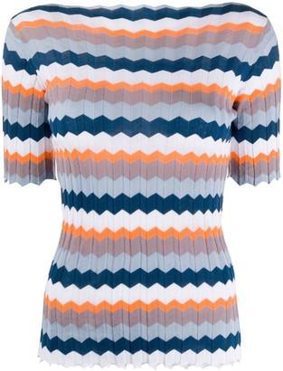 Roberto Collina Striped Rib-Knit Top
